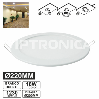 PAINEL LEDS REDONDO 18W 200MM BRANCO QUENTE 1230LM